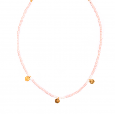 Pink-white coins choker